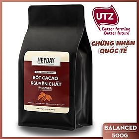 Bột cacao nguyên chất 100% Việt Nam - Dòng Balanced phổ thông túi 500g -  Chuyên dùng làm bánh, pha chế cho quán cà phê - Heyday Cacao