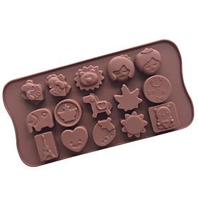 Khuôn silicon làm thạch rau câu, socola 15 hình valentine love