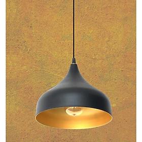 Đèn thả hình giọt nước, chóa đen, lòng vàng đồng (32*32cm)