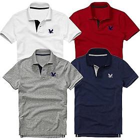 Bộ 4 áo thun nam cổ bẻ cao cấp DokaFashion, chất liệu thun cá sấu 4 chiều ngoại nhập - Trắng, Đỏ đô, Xám đậm, Đen