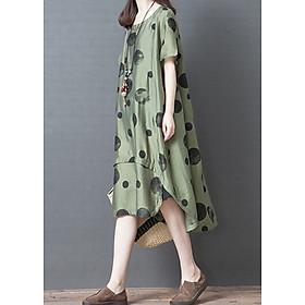 Đầm suông lụa chấm bi (Xanh rêu)