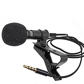 Mini Clip-on Lavalier Microphone Lapel Condenser Mic with 3.5mm Plug Compatible with iPhone iPad Android Smartphone DSLR