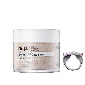 Mặt Nạ Đất Sét Hoa Hồng Dưỡng Trắng, Làm Đều Màu Da RE:P Bio Fresh Mask With Real Vitality Herbs 130g + Tặng 1 Băng Đô Tai Mèo (Màu Ngẫu Nhiên)