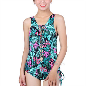 Bikini 1 Mảnh Họa Tiết Xanh Lá Đan Dây Trước Sau Monica BIT 3021 (Free Size)