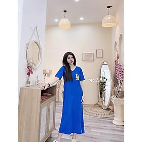 váy suông nữ ,đầm suông dáng dài cộc tay thêu chữ LA đan lưng 3 màu