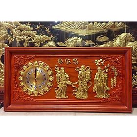 Tranh gỗ nghệ thuật kết hợp đồng hồ, Phú quý cát tường - chữ lộc -thuyền buồm - chữ phúc - Phúc lộc thọ