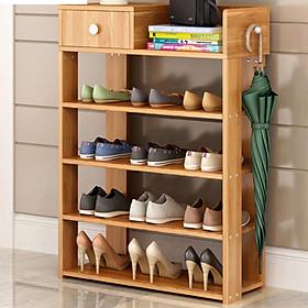 Tủ giày 5 tầng bằng gỗ, A2401 cao 80cm x rộng 60cm x sâu 24cm [màu vàng], chất gỗ tự nhiên, có thêm ngăn tủ đựng đồ, phân loại và sắp xếp giày dép gọn gàng, treo thêm được áo mưa, ô dù