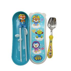 Set tập ăn 2 món (thìa, đũa nhựa xỏ ngón) Edison - hình Pororo, có hộp tặng xe trượt đà cho bé VBC-123-6 (ngẫu nhiên)