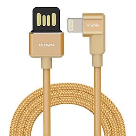 Dây cáp sạc truyền dữ liệu Lightning USB Vivan | Cáp chữ L gập 90 độ màu Vàng 5V - 2.4A Gọn Tay cho Game Thủ | Cho thiết bị di động/điện thoại Apple/iOS (iPhone/iPad) - Hàng Chính Hãng