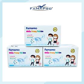 [[ Xuất Khẩu Mỹ ]] - COMBO 3 HỘP - Khẩu Trang Y Tế Cao Cấp FAMAPRO - 3 Lớp Kháng Khuẩn / 99% Lọc Khuẩn, Bụi, Virus Tốt Nhất / Trẻ Em - [ CB3 - MAX KID - HỘP ]