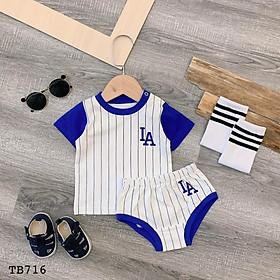 Quần áo trẻ em QUỲNH BOUTIQUE bộ rời thẻ thao kẻ xanh LA(5-15kg)
