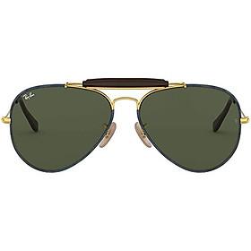 Ray-Ban RB3422Q Outdoorsman Craft Aviator Sunglasses, SHINY SILVER, 58 mm