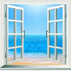 Tranh dán tường cửa sổ phong cảnh 3d 18
