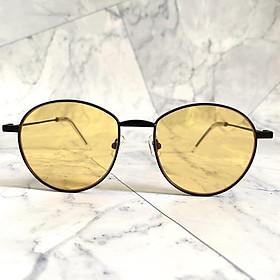Kính mắt thời trang cao cấp VBagu - Thiết kế gọng kim loại nhỏ gọn với tròng kính màu vàng kiểu dáng unisex