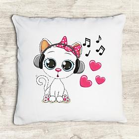 Gối tựa lưng trang trí vải canvas in hình cute cartoon cow headphones G512