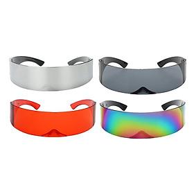 4x Fashion Futuristic Wrap Visor Sunglasses Cyberpunk Glasses Party Favors