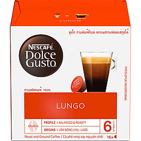 Hộp 16 Viên Nén Cà Phê Rang Xay Nescafe Dolce Gusto - Lungo 104g - Hàng Chính Hãng