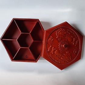 Khay đựng bánh kẹo Tết bằng gỗ Hương ta Di lặc vác bao tiền KH05
