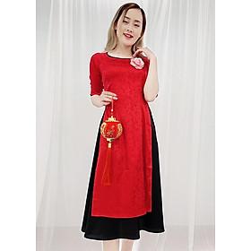 Set Áo Dài Cách Tân Gấm Đỏ Kiểu Áo Dài Nữ In Ẩn Hoa Hồng Váy Đen GOTI 3141
