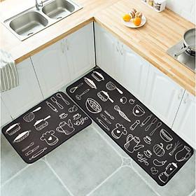 Bộ 2 Thảm Nhà Bếp, Thảm Chùi Chân Cao Cấp Họa Tiết Dụng Cụ Nhà Bếp