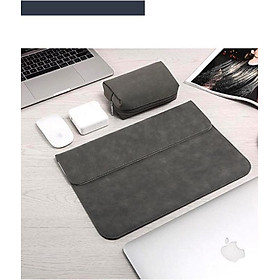 Bao da, túi da, cặp da chống sốc cho macbook, laptop chất da lộn kèm ví đựng phụ kiện - Xám - Macbook Air 13.3 inch đời 2018 đến 2020