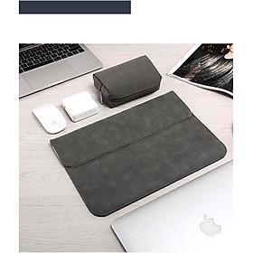 Bao da, túi da, cặp da chống sốc cho macbook, laptop chất da lộn kèm ví đựng phụ kiện - Xám - Macbook Pro 15.4 inch đời 2016 đến 2020