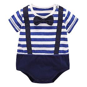 Summer New Fashion Print Little Gentleman Triangle Romper Fashion Trend New Boy Baby Romper