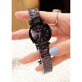 Đồng hồ nữ dây kim loại mặt tròn màu đen cá tính ĐHĐ14501 + Tặng lắc tay + Khăn lau mặt kính + 2 pin