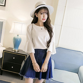 Fun Women Fashion Spring Summer Trumpet Sleeve Ruffle Shirt Top
