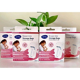 Combo 4 hộp túi trữ sữa Sanity, mỗi hộp 30 túi, thể tích 210ml/túi, túi có 2 khóa zipper, nhựa cao cấp không chứa BPA