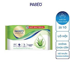 Combo 2 gói khăn ướt kháng khuẩn Paseo 25 tờ chiết xuất Lô Hội