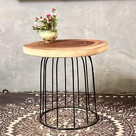 Bàn trà, bàn cà phê, bàn sofa gỗ xà cừ chân sắt lồng chim