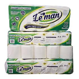 Combo (4 lốc) giấy vệ sinh cao cấp Leman xanh lá (40 cuộn)