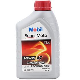 Nhớt Xe Số 4T Mobil Super Moto 20W-50 Tiêu Chuẩn JASO MA2 API SL (0.8L) - Hàng Chính Hãng