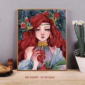 Tranh tô màu theo số số hóa từ tranh Cô gái lựu đỏ mã AN0901