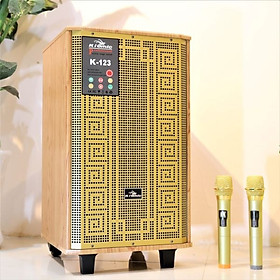 Loa kéo di động 3 tấc Kiomic K123 - Loa kéo hát karaoke - Đầy đủ cổng kết nối -  Tặng kèm 2 micro UHF - Công suất cao lên đến 300W - Chất lượng âm thanh cực chuẩn - Hàng nhập khẩu