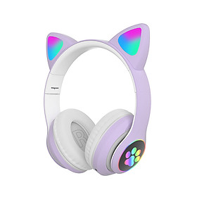 STN-28 Over Ear Music Headset Glowing Cat Ear Headphones Foldable Wireless BT5.0 Earphone with Mic AUX IN TF Card MP3