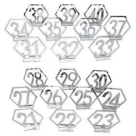 Number 21-40 Acrylic Mirror Surface Hollow-out Hexagon Table Cards Reception Seat Card for Party Wedding Decoration 20PCS/Set