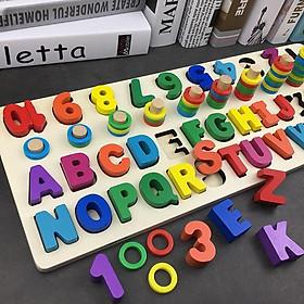 Bảng chữ cái cho bé gồm bảng chữ số và chữ cái in hoa làm bằng gỗ tự nhiên, bao gồm ký tự đặc biệt xếp theo Alphabet.