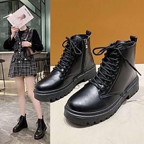 Giày bốt nữ ullzang khóa kéo siêu Hot trend 2021, giày boost nữ cao cổ chất liệu da siêu bền, mềm mại
