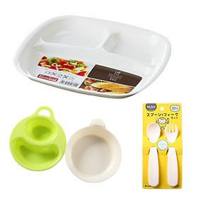 Combo đồ dùng ăn dặm cho bé (khay 3 ngăn + 2 bát + 1 bộ thìa nĩa)