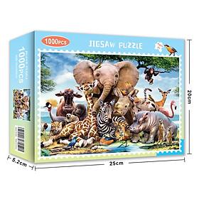 Bộ Tranh Ghép Xếp Hình 1000 Pcs Jigsaw Puzzle Thế Giới Động Vật Thú Vị Cao Cấp