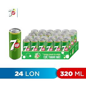 Thùng 24 Lon Nước Ngọt Có Gaz 7Up (320ml/lon)