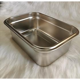 Khay inox dùng để thức ăn tủ mát,tủ đông / Inox cao cấp có nắp Tặng rổ hình táo