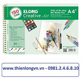 Sổ vẽ lò xo đa năng Creative Art A4 - 150 GSM - 30 tờ/tập; Klong 772 xanh lá
