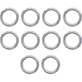 10 Pieces Thicken Chrome Plated 25mm Round Circle Carabiner Snap Hooks Keychain Keyring Travel Hiking Accessory