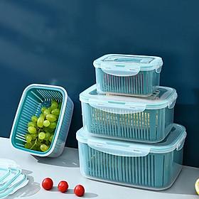 Set 5 hộp kèm rổ có nắp đậy hút chân không ️Bộ 5 hộp đựng thực phẩm tách nước tiện dụng