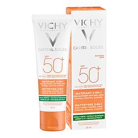 Kem Chống Nắng Vichy Ngừa Sạm Da, Giảm Thâm Nám (Màu Da) 50ml Capital Soleil Anti-Dark Spot 3-in-1 Tinted Daily Care SPF 50 UVA + UVB