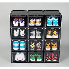 Combo 12 Hộp Đựng Giày Cao Cấp Cửa Mở Nam Châm Trọng Lượng 1000gr | Hộp tháo Lắp dễ dàng, hộp màu đen
