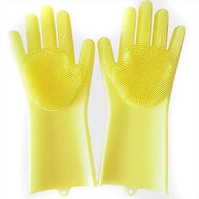 Găng tay rửa chén cách nhiệt silicon Vàng
